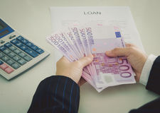 Loan money. Business loan from a bank employee. finance concept stock photo