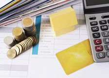 Loan money concept with house and credit card and coin stack. Above, Top views royalty free stock images