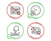 Loan percent, Web settings and Elastic icons set. Clean dishes sign. Discount, Engineering tool, Resilience. Vector. Do or Stop. Loan percent, Web settings and royalty free illustration