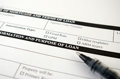 Loan Request Form. And pen royalty free stock photos