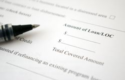 Loan Request Form. And pen royalty free stock images