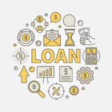 Loan round colorful illustration Royalty Free Stock Photo