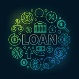 Loan round outline colorful illustration Stock Photos