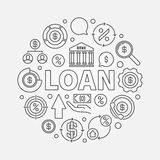 Loan round outline illustration Royalty Free Stock Image