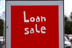 Loan sale sign. Sign of a store. loan sale or reduction of a price Stock Images