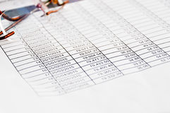 Loan schedule table sheet. Concept stock photography