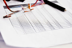 Loan schedule table sheet Stock Photo