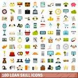 100 loan skill icons set, flat style. 100 loan skill icons set in flat style for any design vector illustration stock illustration