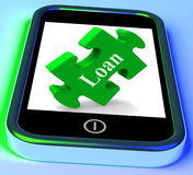 Loan Smartphone Means Finance Credit Or Mortgage. Loan Smartphone Meaning Finance Credit Or Mortgage Stock Photo