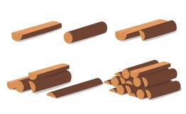 loan trä Brunt skäll av avverkat torrt trä Köp för konstruktion också vektor för coreldrawillustration En uppsättning av träremma Royaltyfria Bilder