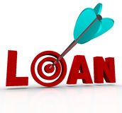 Loan Word Arrow in Bulls-Eye Target. The word Loan in red letters with an arrow hitting the target bullseye in place of the letter O, symbolizing finding Royalty Free Stock Photography