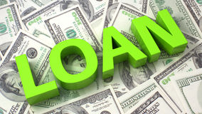 Loan. Word Loan on the background of one hundred dollar bills Stock Photo
