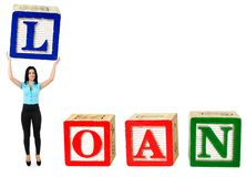 Loan word. Woman raise letter from word Loan royalty free stock photo