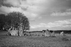 Loanhead向圈子和礼仪火葬站点扔石头在daviot aberdeenshire苏格兰 免版税图库摄影