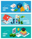 Loans For Everyone Banners. Loans isometric horizontal banners set with three compositions of financial icons documents and people with text vector illustration Royalty Free Stock Images