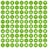 100 loans icons hexagon green. 100 loans icons set in green hexagon isolated vector illustration Royalty Free Stock Image