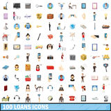 100 loans icons set, cartoon style Royalty Free Stock Photos