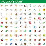 100 loans icons set, cartoon style. 100 loans icons set in cartoon style for any design vector illustration Stock Illustration