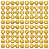 100 loans icons set gold. 100 loans icons set in gold circle isolated on white vector illustration royalty free illustration