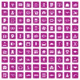 100 loans icons set grunge pink. 100 loans icons set in grunge style pink color isolated on white background vector illustration Royalty Free Stock Photography