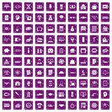 100 loans icons set grunge purple. 100 loans icons set in grunge style purple color isolated on white background vector illustration Stock Photo