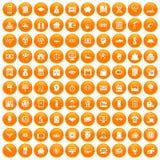 100 loans icons set orange. 100 loans icons set in orange circle isolated on white vector illustration vector illustration