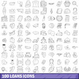 100 loans icons set, outline style. 100 loans icons set in outline style for any design vector illustration vector illustration