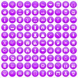 100 loans icons set purple. 100 loans icons set in purple circle isolated on white vector illustration stock illustration
