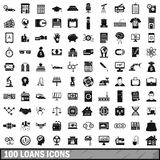 100 loans icons set, simple style. 100 loans icons set in simple style for any design vector illustration Stock Photos