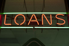 Loans neon sign Stock Photography