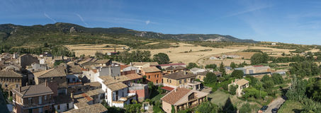 Loarre Aragon Huesca Spain, on the right the wheat fields already harvested, in the background the Castle Royalty Free Stock Photography