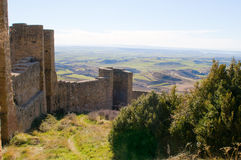 Loarre slott, Huesca, landskap av Zaragoza, Arragon, Spanien Royaltyfria Bilder