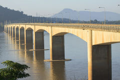 Loas-japan bridge crossing Mekong river in Champasak southern of Stock Photo