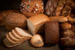 Loave of bread,  on sacking Royalty Free Stock Image