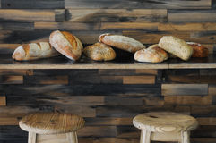 The loaves. Assortment of freshly baked breads at a bakery royalty free stock photography