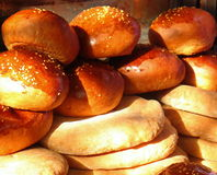 Loaves of Bread. Fresh bread for sale at the local bakery royalty free stock photo