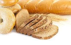Loaves of bread and bagels Stock Photo