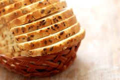 Loaves of bread in a basket Royalty Free Stock Images
