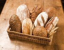 Loaves of bread in a basket Stock Photography