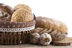 Loaves of bread and garlic Royalty Free Stock Photos