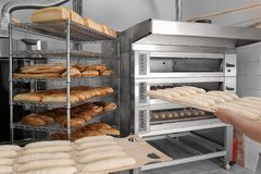 Loaves of bread on shelving. In bakery Royalty Free Stock Photography