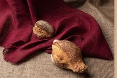 Loaves of bread on the table against the background of colorful burlap,still life, closeup. Two loaves of bread on the table against the background of colorful royalty free stock image