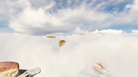 Loaves of bread variety above the clouds at daylight. Time stock footage