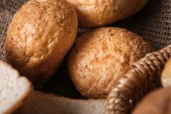 Loaves of delicious bread. Closeup Stock Images
