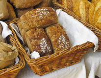 Loaves at Farmers Market. Organic bread for sale at outdoor Farmers Market royalty free stock photo