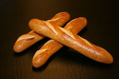 Loaves of french baguettes Stock Images
