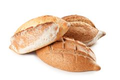 Loaves of fresh bread isolated. On white stock photos