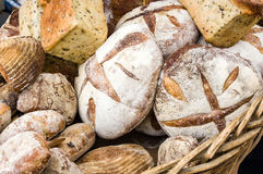 Loaves of fresh bread at the market Royalty Free Stock Image