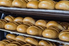 Loaves of fresh crusty bread on wooden multi-storey shelves. Bakery products industry Stock Photos