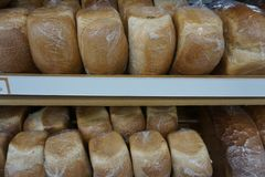 Bread on the counter in the store stock images